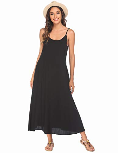 Ekouaer Summer Casual Loose Dress Beach Cover Up Long Cami Maxi Dresses with Pocket,Black,Small