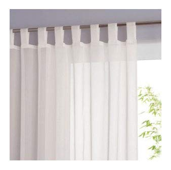 Voile TAB TOP Curtain WHITE 72 inch / 183cm drop QUALITY SHEER VOILE