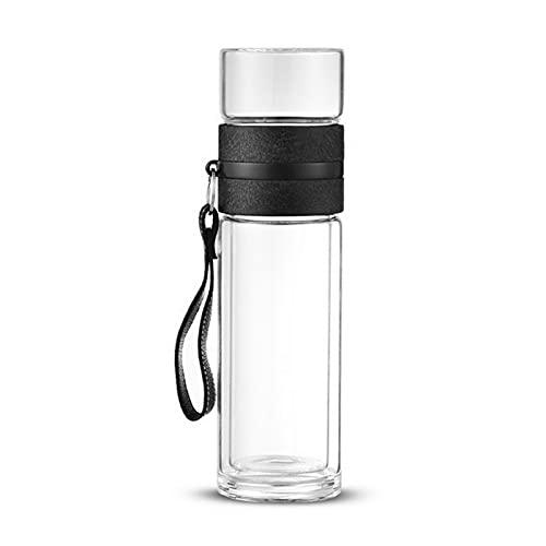 chenchen 50 0ML Botellas de Agua de Vidrio Anti-escaldado Ajuste para té Dink con la Botella de Doble Pared de infusión Ajuste para Agua Taza de té de Viaje al Aire Libre portátil (Color : G249402)