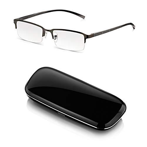 Read Optics Herren Lesebrille 1,5 mit Etui: Lesehilfe in Hardcase mit rechteckigem Halbrahmen in modernem Chrom/Grau. Entspiegelte und kratzfeste Brillengläser in den Stärken +1,0 bis +3,5 Dioptrien