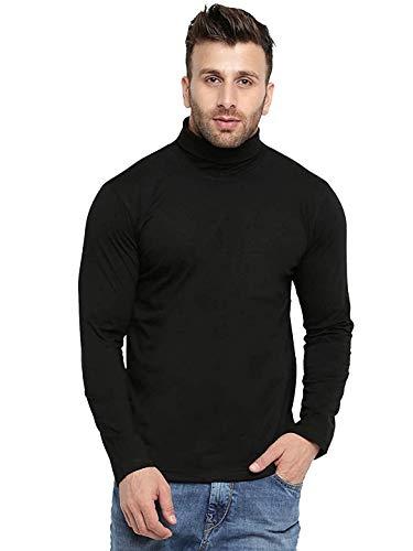 DIGITAL SHOPEE Slim Fit Full Sleeve High Neck Cotton T-Shirt for Men's/Boys for All Season  Black