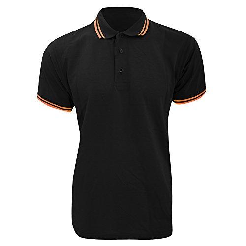 KUSTOM KIT Polo à Manches Courtes pour Homme (L) (Noir/Orange)