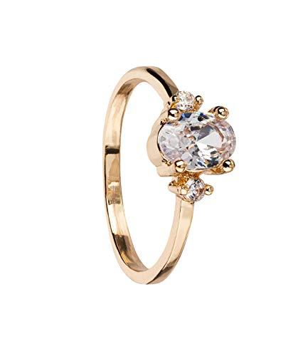 SIX Schmaler goldfarbener Ring mit großem Zirkonia-Stein Gr. 53 (528-899)
