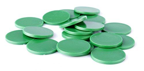 Einkaufswagenchips Einkaufschips viele Farben, einsetzbar als Spielgeld oder Spielmünzen, Farbe:sattgrün, Größe:100 Stück