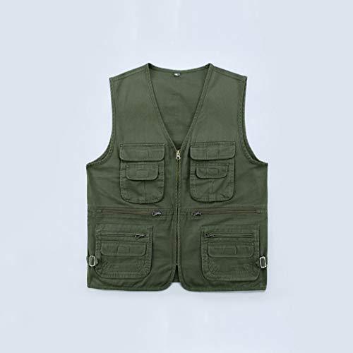 Angelwesten Mutil Tasche Leichte Fliegenfischen Baumwollweste, Außen Fischen Wandern Plus Size Vest (Color : Green, Size : XL)