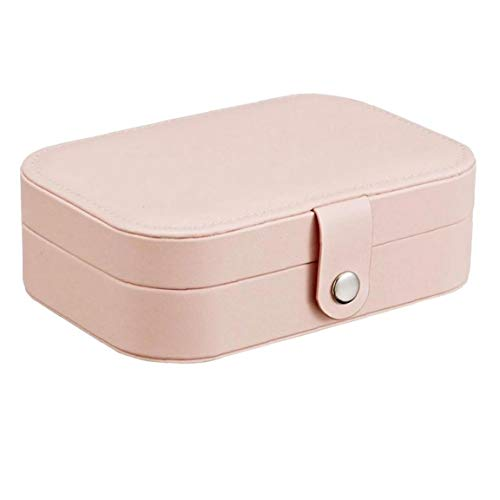 Jewelry Storage Case Travel Jewelry Box Organizer Gift PU Leather Double-Layer Pink for Rings Earrings Necklaces Bracelets