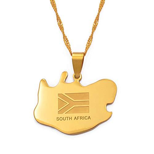FDDSSYX Collar De Mapa,Creatividad Sudáfrica Mapa Colgante Collares Joyas Color Oro, Países De África Mapas Sudafricanos Mapa Colgantes Mejores Amigos Accesorios Regalo,45Cm Cadena Delgada