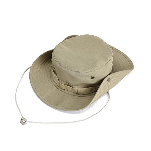 Sombrero de Pesca,Boonie Hat Sombrero de Verano con Correa de Barbilla Ajustable para Exteriores,Senderismo,Camping,Viajes Caqui