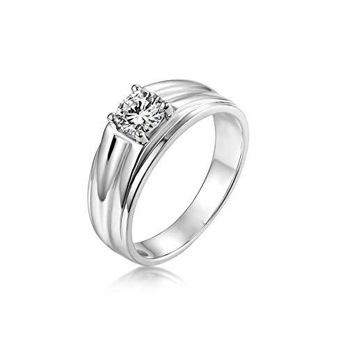 Adokiss Anillo de moissanita de 18 K 750, 4 garras de 0,8 ct, anillo de boda para hombre, anillo de compromiso, oro blanco, talla 52 (16,6), regalo de Navidad