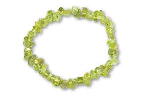 Taddart Minerals – Grünes Splitter Armband aus dem natürlichen Edelstein Peridot auf elastischem Nylonfaden aufgezogen - handgefertigt