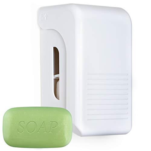 SHD Trockenseifenspender Seifenspender für Trockenseife mit Wandbefestigung - Spender für trockene Seife - Blockseifenspender in weiß, Badezimmer WC Dusche, für Privat und Industrie (1 Stück)
