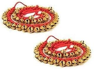 UAPAN Brass Ghungroo Anklets Bells (1.6 CM, 25+25 Red, Pair)