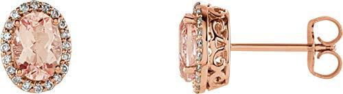 14K Rose Gold Morganite & 1/5 ctw Diamond Earrings