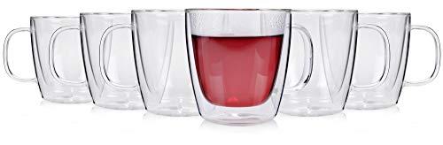 Doppelwandige Kaffee-Gläser Set, 6 teiliges Kaffeebecher Set für 6 Personen aus Glas, Thermo-Gläser Füllmenge: 250 ml, mit Henkel, Alltag, Büro, Frühstück, Brunchen, Outdoor Tee-Gläser Set von Sänger