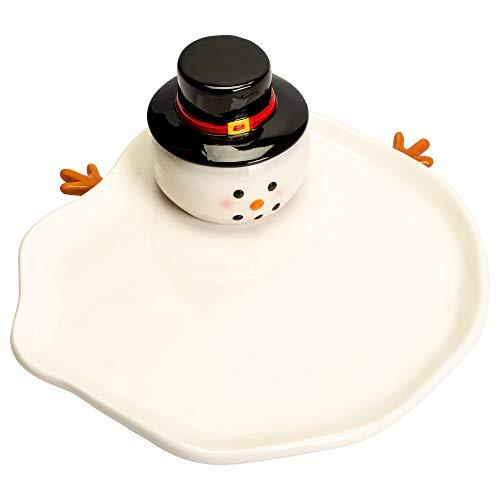 Melted Snowman Glossy White 10 x 9 Ceramic Dolomite Christmas Plate Spreader Set