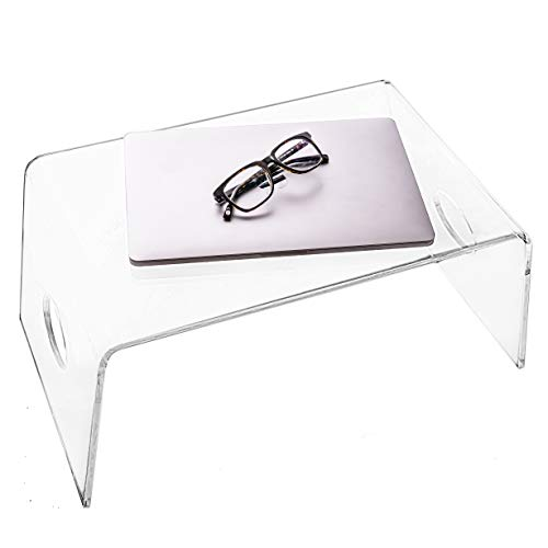 """Acrylic Bed Tray with handles (21"""" x 12"""" x 9"""") - Clear Laptop Stand for Home Office, Lightweight Portable Lap Desk for Eating, Reading or Writing, Mobile Table for Bed & Couch/Sofa"""