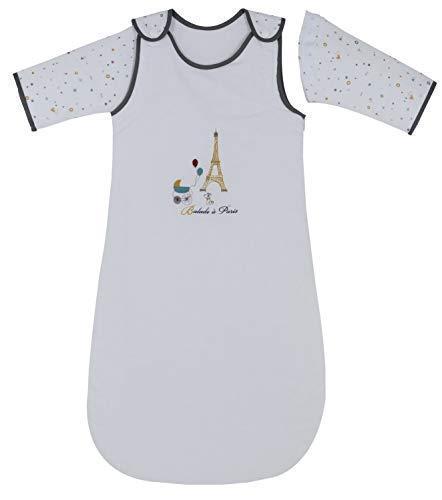 P'tit Basile - Gigoteuse bébé hiver chaude à manches amovibles - 6-24 mois - taille 90 cm - Coton Bio - TOG 2,5 - collection Little Paris Blanche