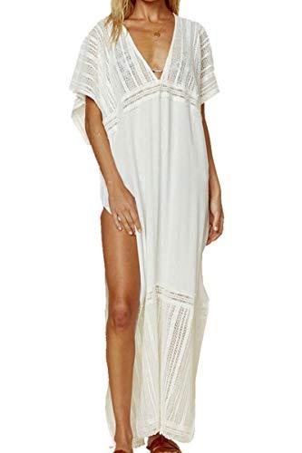 AiJump Traje de algodón bordado de la playa vestido largo maxi kimono Swim cubre sube Plus para Mujer Talla nica Blanco 10