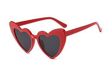 JUSLINK Heart Shaped Sunglasses for Women Cat Eye Mod Style Retro Kurt Cobain Glasses Red
