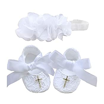 Bow Dream Baby Girl s Baptism Christening Shoes and Headband Set White Reinstones 6-12 Months