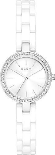 DKNY - City Link Analoge Quarzuhr mit weißem Keramikarmband für Damen NY2915