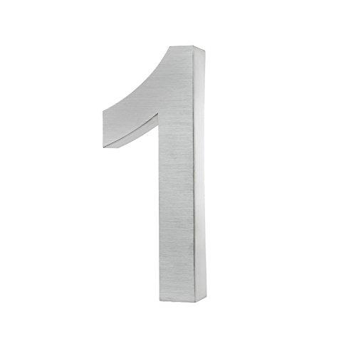 KOBERT GOODS Hochwertig Modern Gebürstet Edelstahl V2A Hausnummer 1 klassisch 3D-Effekt Design Wetterfest und Rostfrei inklusive Montage-Material Höhe 20cm Tiefe 3cm Groß für Haus und Gartenzaun