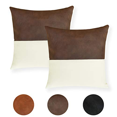 Faromily Fundas de cojín de piel sintética de color marrón con lino y algodón, cuadradas, de 45,7 x 45,7 cm, juego de 2 unidades, estilo bohemio moderno
