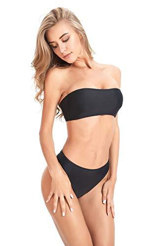 Annafiiore Damen Italienische Designer Bademode, Sommer 2019: Minimalistischer Bandeau Bikini, Schwarz, Gr.- L/ 40 EU