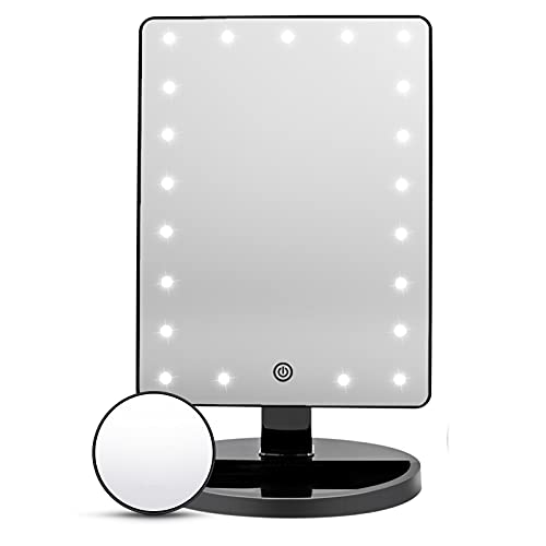 Lighted Vanity Makeup Mirror with 21 LED Lights and 10X Magnification Mirror,Cosmetic Beauty Mirror with Double Power Supply,Touch Sensor Screen Light Up Mirror for Makeup 180° Rotation (Black)
