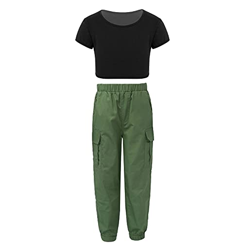 Agoky Conjunto de Ropa Casual Niña Verano Traje Chandal Crop Top Manga Corto + Pantalones Cargo con Elástico Cintura Ropa Deportivo Niña Verde militar y negro 8 años