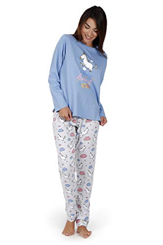 MR WONDERFUL Pijama Manga Larga Unicornio para Mujer