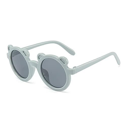 PPuujia Gafas de sol para niños con forma de oso de dibujos animados para niñas y niños, gafas de sol redondas, gafas de latido de la calle lindas para bebés (color de la lente: azul gris)