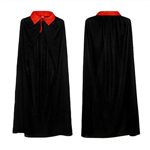 Capa de Halloween para niños, disfraz de pirata con capucha, disfraz de disfraz de disfraz de pirata, color rojo y negro, con cuello alto, suministros de fiesta de Navidad (cuello alto, 150 cm)