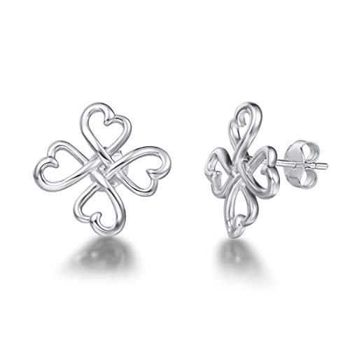 FANCIME White Gold Plated Real Sterling Silver Celtic Knot Clover Petal Heart Stud Earrings Silver Jewelry For Women Girls …