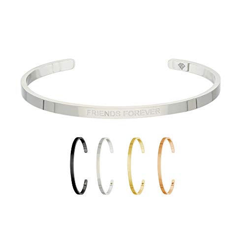 Max Palmer | BFF Armband/Armreif mit Spruch Gravur Friends Forever [01.] - Silber