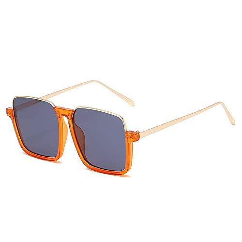ShZyywrl Gafas De Sol Gafas De Sol Cuadradas para Mujer, Gafas De Sol De Medio Marco De Metal, Gafas De Sol De Moda para Mujer, Gafas De Lujo, Naranja