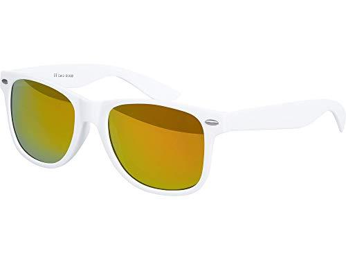 Balinco Hochwertige Nerd Sonnenbrille Rubber im Retro Stil Vintage Unisex Brille mit Federscharnier - 96 verschiedene Farben/Modelle wählbar (Weiß - Rot/Orange verspiegelt)