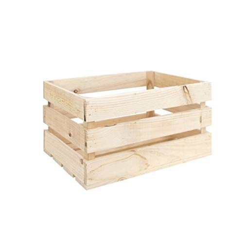 Decowood - Pack 6 Cajas Grande en Madera de Pino Natural - 49 x 30,5 x 25,5 cm