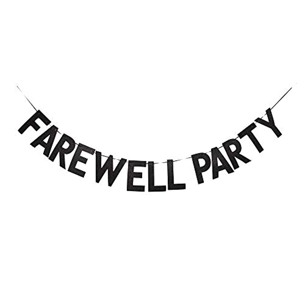 Farewell Party Banner, Graduation/Farewell/Moving/Job Change Party Decorations Black Gliter Paper Sign Photoprops