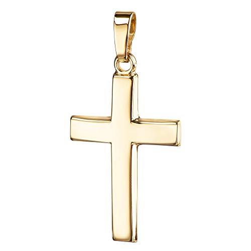 JEVELION Anhänger-Kreuz Goldkreuz für Damen, Herren und Kinder Kreuzanhänger Kettenanhänger in gewölbter Form + Schmuck-Etui