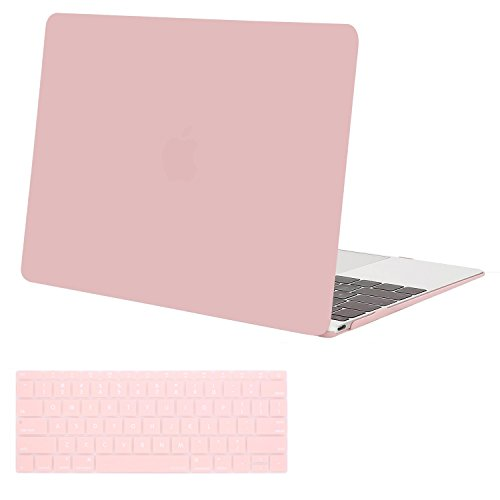 MOSISO Plastic Hard Shell Case & Keyboard Cover Skin Only Compatible with MacBook 12 inch with Retina Display (Model A1534, Release 2017 2016 2015), Rose Quartz