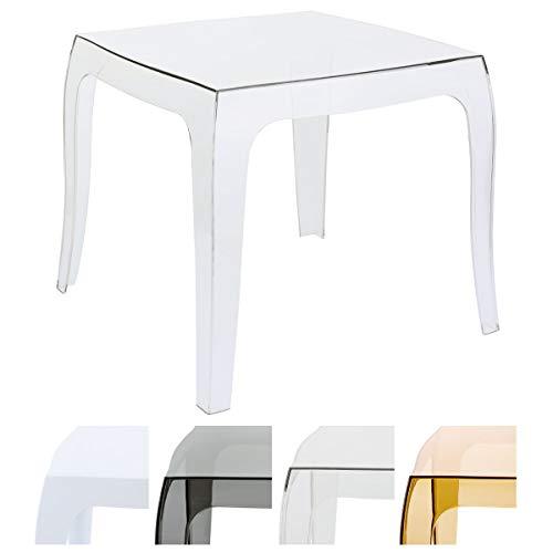 CLP Design-Kunststofftisch Queen I Pflegeleichter quadratischer Beistelltisch I Wetterbeständiger Outdoor-Tisch, Farbe:transparent