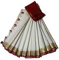 SILK TEXTILES BHAGALPUR Women's Bhagalpuri Linen Slub Saree with Contrast Red Blouse Piece (White, STB-228)