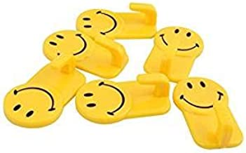 Royals Plastic Self-Adhesive Smiley Face Hooks, 1 Kg Load Capacity, 12 Piece Set