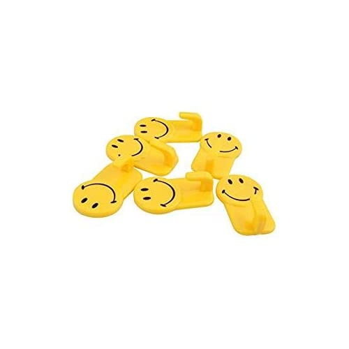 Royals Plastic Self-Adhesive Smiley Face Hooks, 1 Kg Load Capacity, 12 Piece Set