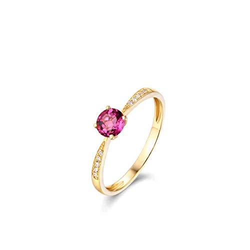 Beydodo Ringe 750 Gold Schmal mit Rund Turmaline 0.5ct Eheringe für Frauen Verlobungsring mit Diamant Gr.50 (15.9)