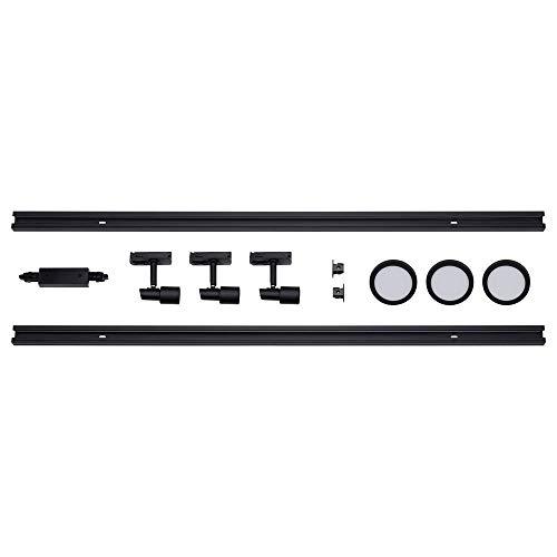 famlights 1-Phasen Schienensystem-Set Schwarz 2m inkl. 3 Spots und Leuchtmittel GU10 | zur individuellen Innen-Beleuchtung, schwenkbare Decken-Spots, Strahler-Schiene, Deckenstrahler, Deckenlampe