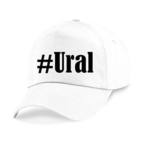 Reifen-Markt Base Cap Hashtag #Ural Größe Uni Farbe Weiss Druck Schwarz