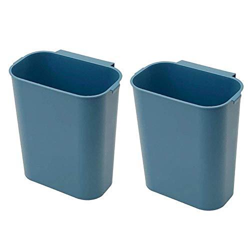 Kleiner hängender Küchenmülleimer kreativer Wandmülleimer mit Müllsackablage - Platz sparen für Küchenschranktür Schublade Schlafzimmer Auto (2 Stück) Blau