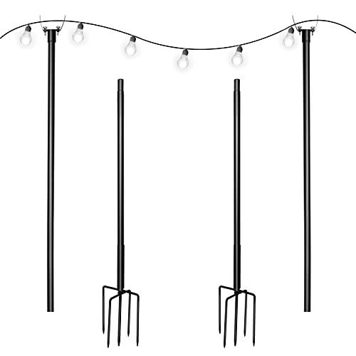 Simdesyun Outdoor String Light Pole, 10ft Sturdy Backyard...